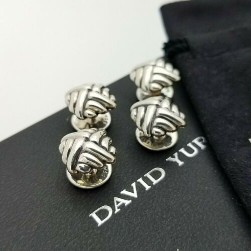 David Yurman Men`s Sterling Silver Cushion Cable Shirt Stud Set of 4 Pouch & Box