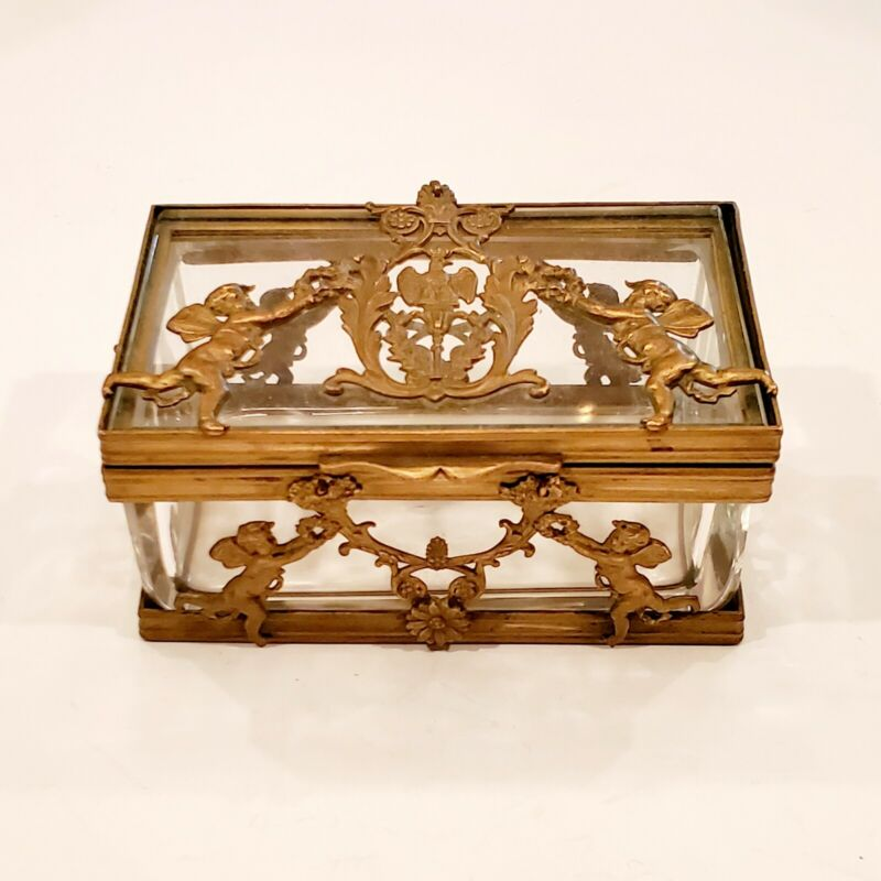 ⚘ Antique French Bronze & Crystal Casket Box
