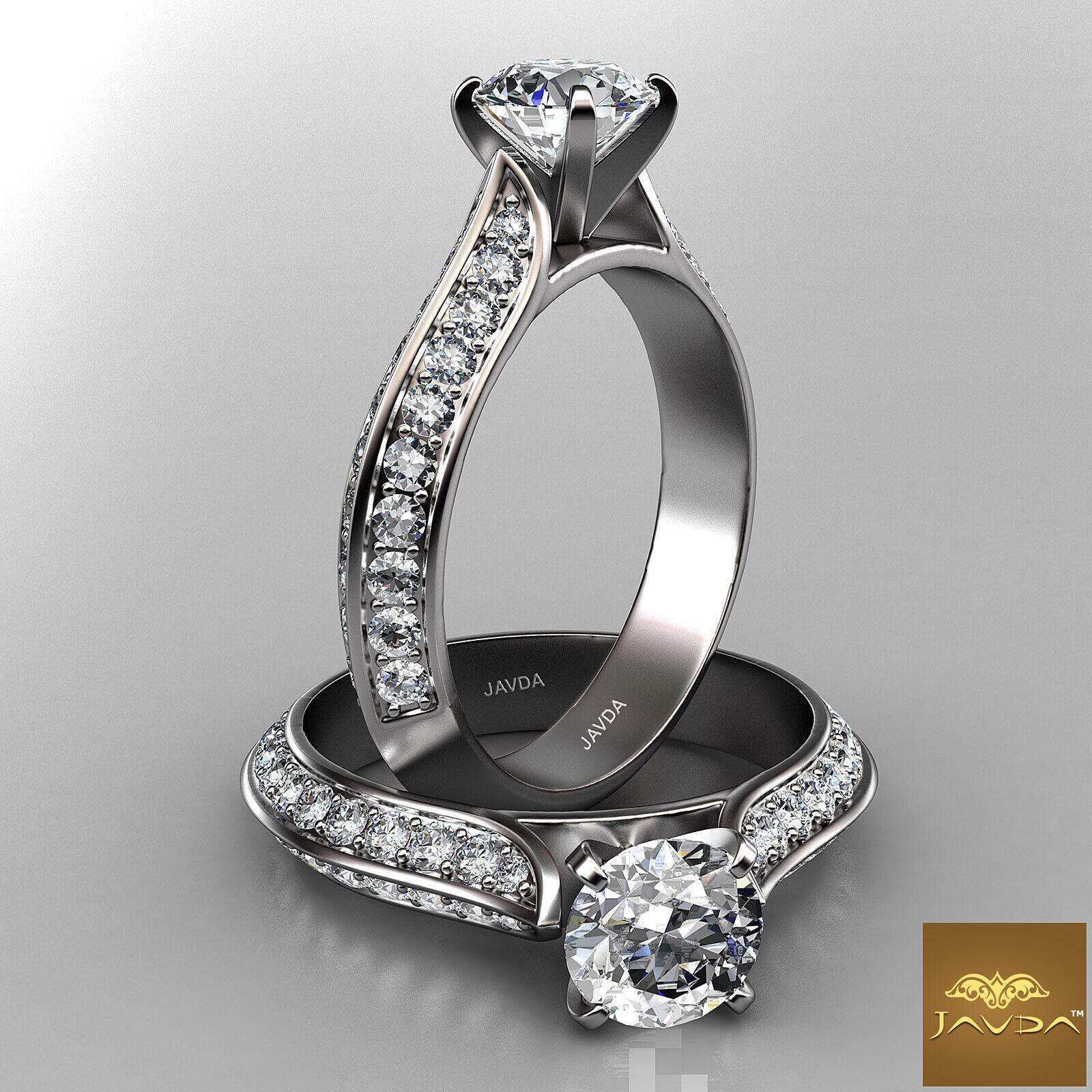 Round Diamond Engagement Pave Set GIA F SI1 14k White Gold Stunning Ring 1.85ct.