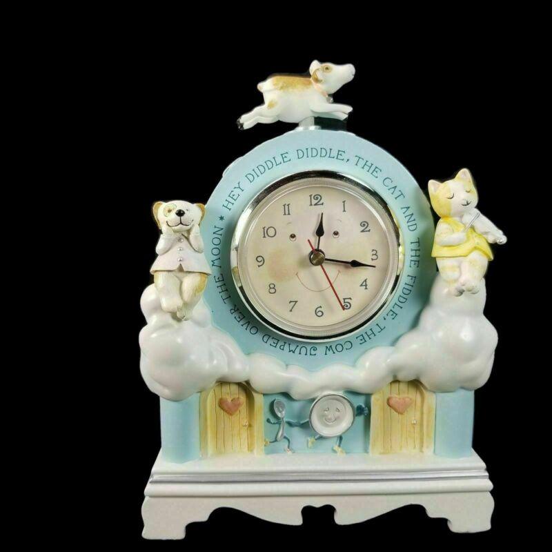 Hallmark Hey Diddle Diddle Nursery Rhyme Clock Blue Musical Cat Cow  Video