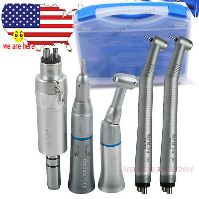 Dental 2x High Speed Low Speed Handpiece Push Button Air Motor Kit 24hole Box