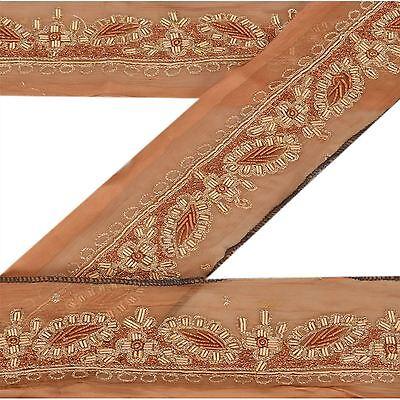 Vintage Sari Border Indian Craft Trim Beaded Embroidered Mirror Work Ribbon Lace
