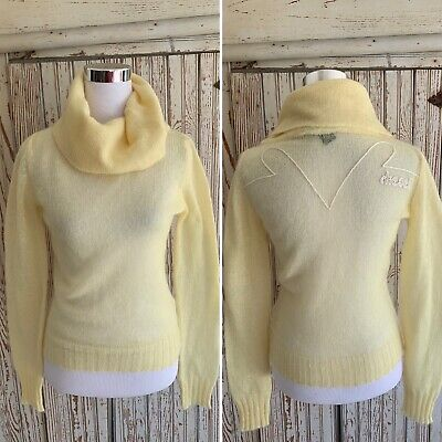 *DIESEL YELLOW MOHAIR TURTLNECK EMBROIDERED SWEATER SZ M -