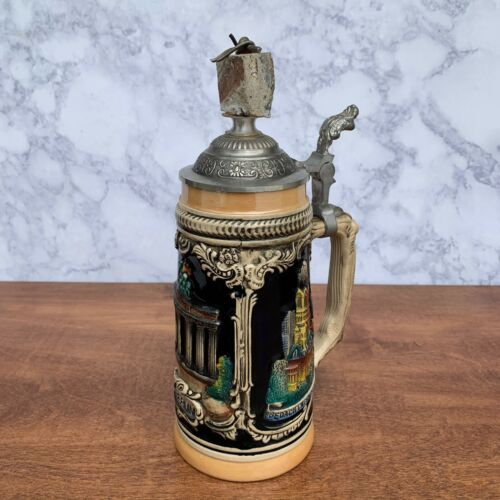 AUTHENTIC Berlin Wall - German Beer Stein w/ Certificate & Picture of full wall