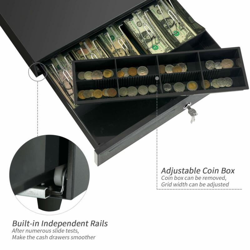 "Money Box 16"" Cash Register Drawer 5 Bill 8 Coin w/Tray Lock Storage&USB Black"