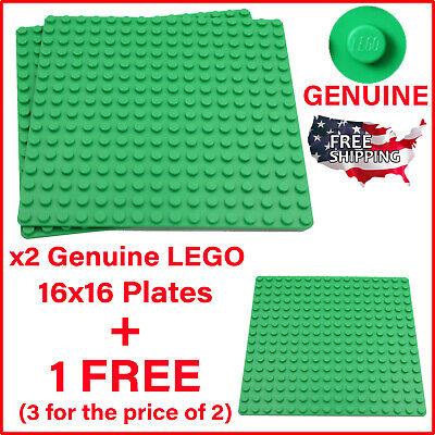 x3 Lego Green Baseplates Base Plates Brick Building 16 x 16 Dots Bright Green