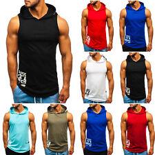 Tanktop T-Shirt Achselshirt Muskelshirt Sport Tee Print Herren BOLF 3C3 Kapuze