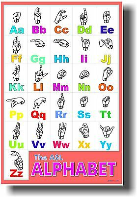American Sign Language Alphabet - ASL Classroom Hearing Impaired NEW POSTER ()