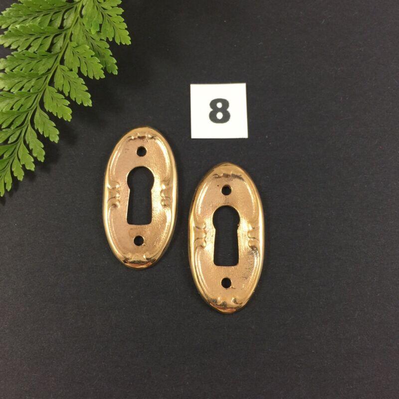 2 x Bronze Keyhole Escutcheon Vintage Furniture Cabinet Restoration Size 8
