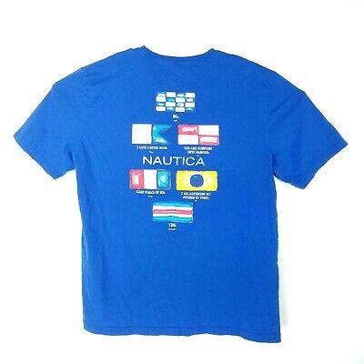 Nautica Mens Size XL Shirt Big Spellout Flag Blue T Shirt Short Sleeve Crew