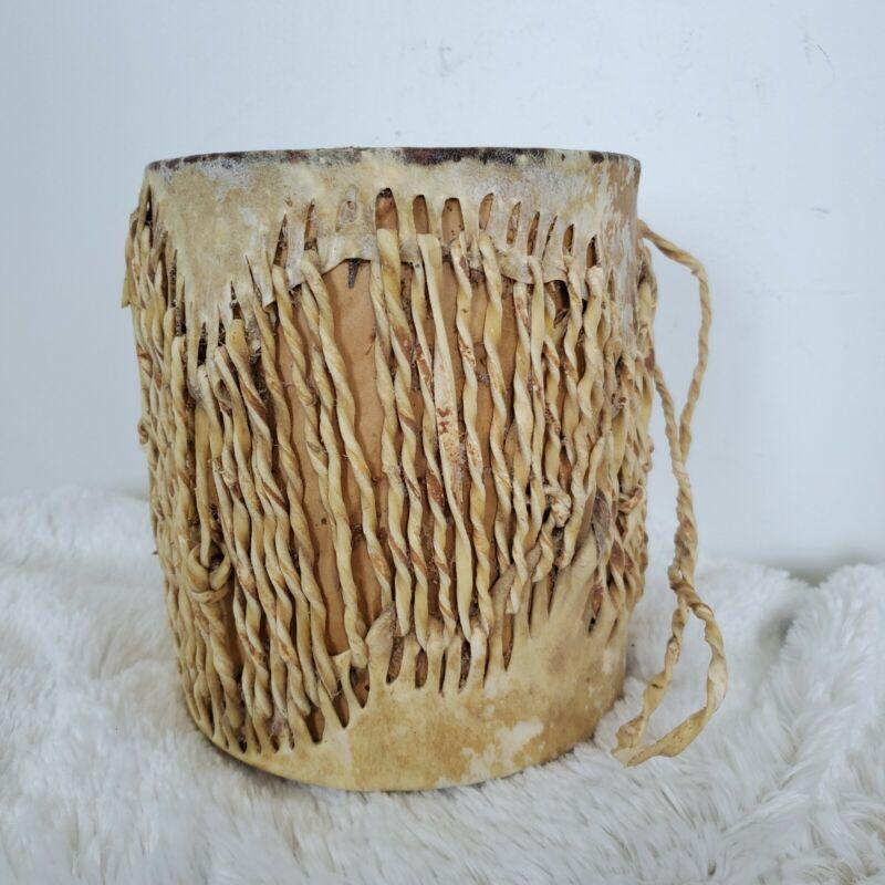 Vintage Native American Ceremonial Buckskin Hide Wooden Tom Tom Drum