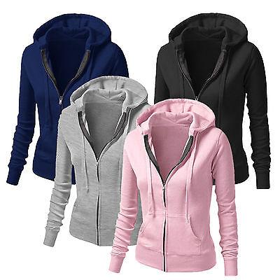 Women Plain Hoodie Fleece Sweatshirt Hooded Coat Sports Zip up Jacket Outwear US ()