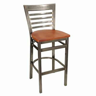 New Gladiator Clear Coat Full Ladder Back Restaurant Bar Stool W Cherry Seat