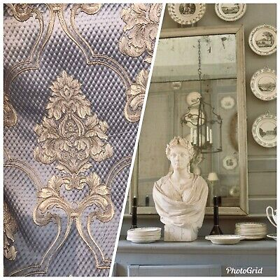 NEW Designer Satin Damask Upholstery Drapery Fabric - Pewter Gray -
