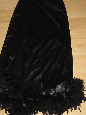 LONG BLACK PVC Fake Leather WITCH GYPSY FEATHER TRIM SKIRT Goth Fantasy Costume - Halloween Costume Black Leather Skirt