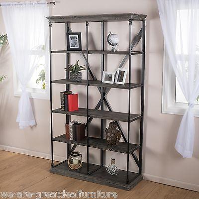 Home Office 5-Shelf Industrial Dark Tan Grey Wood Storage Shelf Bookcase