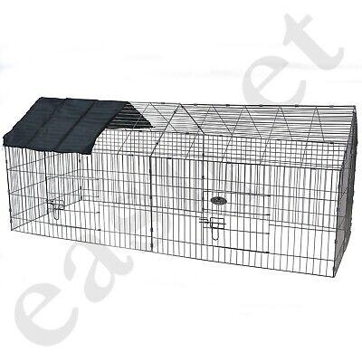 Metal Run Rabbit Guinea Pig Chicken Duck Ferret Dog Cat Pet Enclosure Roof Hutch