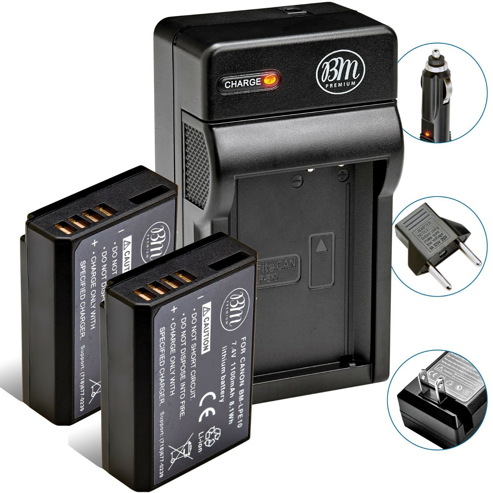 Купить BM Premium LPE10 - 2 Pack LP-E10 Battery + Charger for Canon Rebel T3, T5, T6, T7, EOS 1200D, 1300D