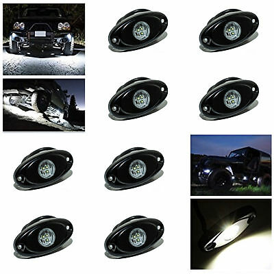 """8x 2"""" 9W White LED Rock Light For JEEP Offroad Truck Under Body Trail Rig Light"""