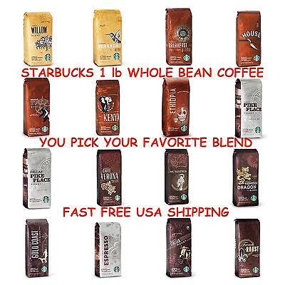 Starbucks Whole Bean 1lb Coffee- LIGHT/MEDIUM/DARK ROAST -U PICK - FREE SHIPPING