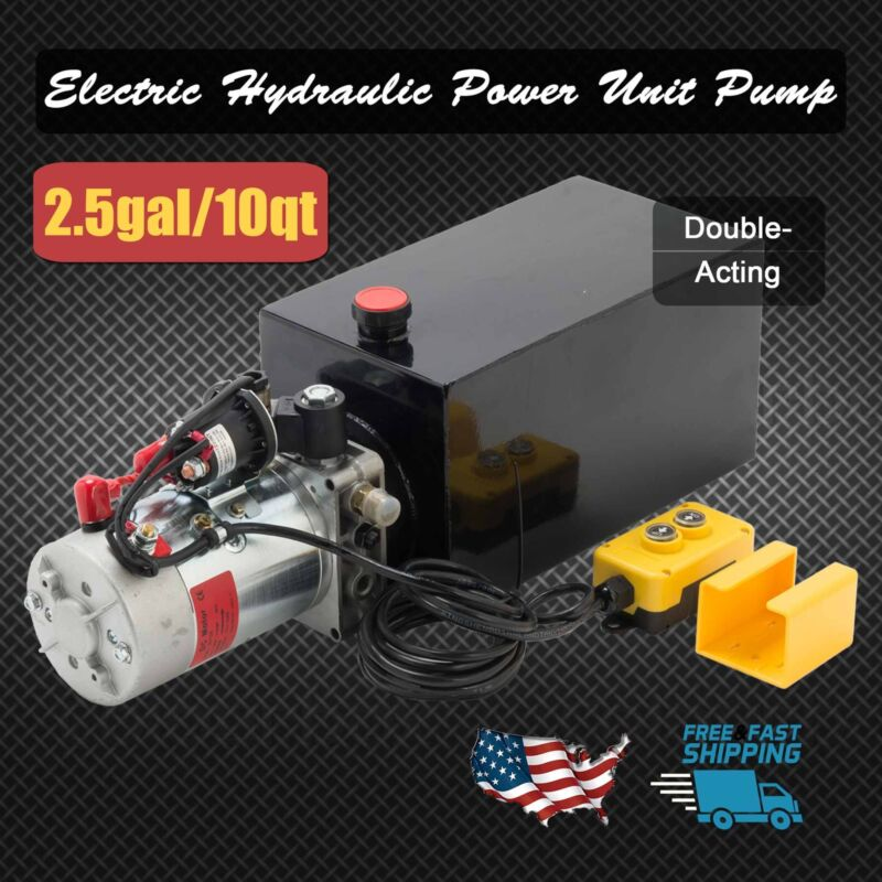 Details about 12 Volt Double Acting Hydraulic Pump 12v Dump Trailer 10  Quart Metal Reservoir