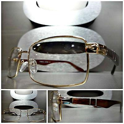 Mens Women CONTEMPORARY MODERN Clear Lens EYE GLASSES Gold & Brown Fashion Frame
