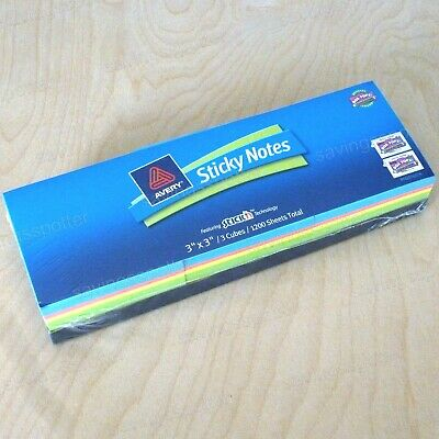 Avery Sticky Notes 3 X 3 3 Cubes Assort Neon Pads 1200 Pk 22660