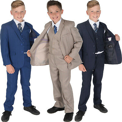 5 Piece Checked Boys Suits Wedding Prom PageBoy Suit Navy Blue Beige 2-12 Year (Boys Navy Anzüge)
