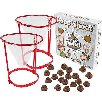 POOP SHOOT HEAD HOOP CONTEST Funny Gag Gift White Elephant Toy Fake Poop Emoji Games
