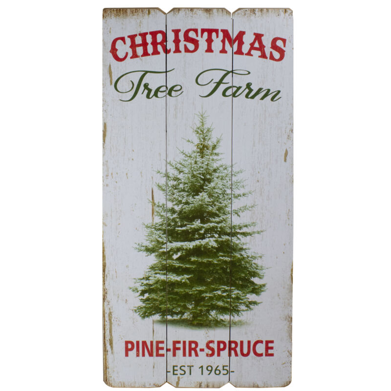 23.5-Inch Christmas Tree Farm Wooden Hanging Wall Sign