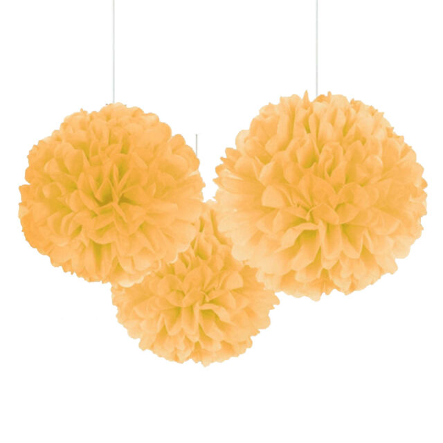 3 Gold Wedding Engagement Party Hanging Fluffy Tissue Paper Ball Decorations