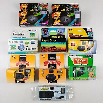 Disposable Camera Lot of 9 New Unused & Expired 240 Exposures 400 ISO Fujifilm