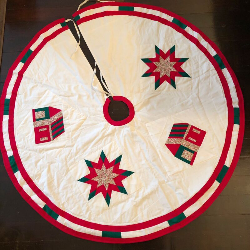 """QUILTED CHRISTMAS TREE SKIRT ROUND 46"""" STAR & COUNTRY COTTAGE FARMHOUSE"""