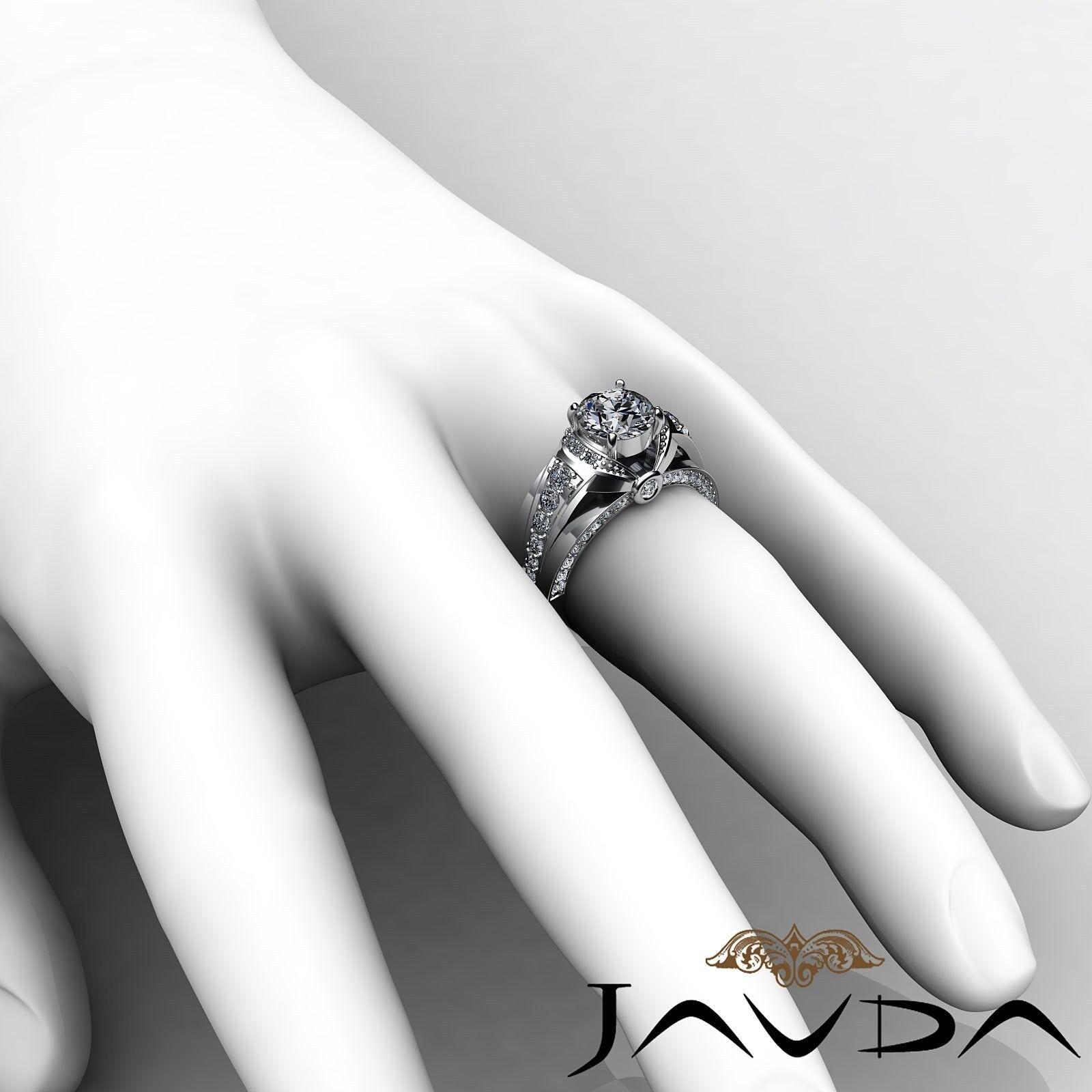 1.7ct Knot Classic Sidestone Round Diamond Engagement Ring GIA H-VVS2 White Gold 5