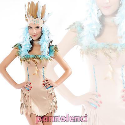 Costume vestito carnevale SQUAW indiana DANZA della PIOGGIA donna festa DL-730