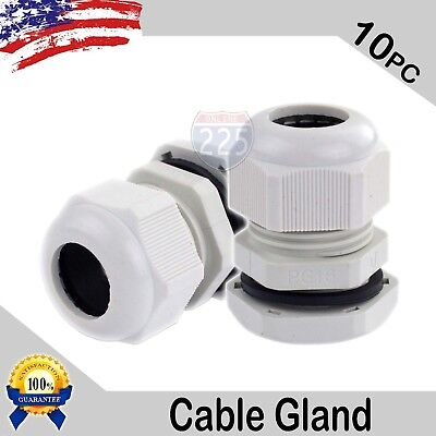 10 Pcs PG16 White Nylon Waterproof Cable Gland 10-14mm Dia. w/ Lock-Nut & Gasket