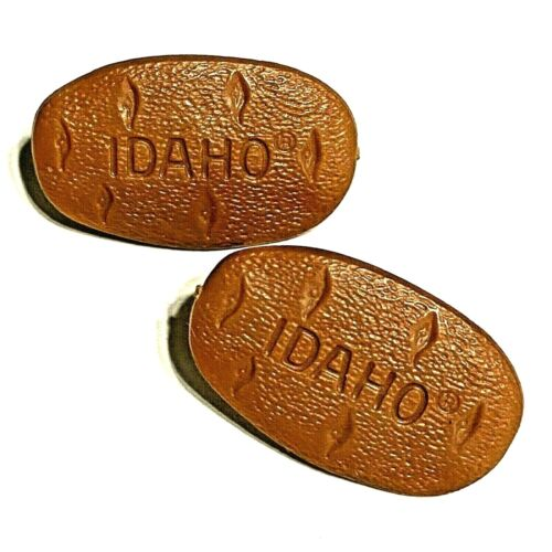 IDAHO Russet Potatoes Lapel Pins, Spuds, Plastic, Cute - Lot of 2