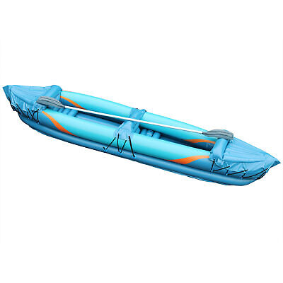 2 Man Inflatable Kayak Aluminium Oars Person Canoe Boat Blow Up Paddle Water