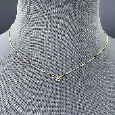 - Cubic Zirconia Gold Dainty Clear Rhinestone Pendant Chain Necklace  CNG15CR