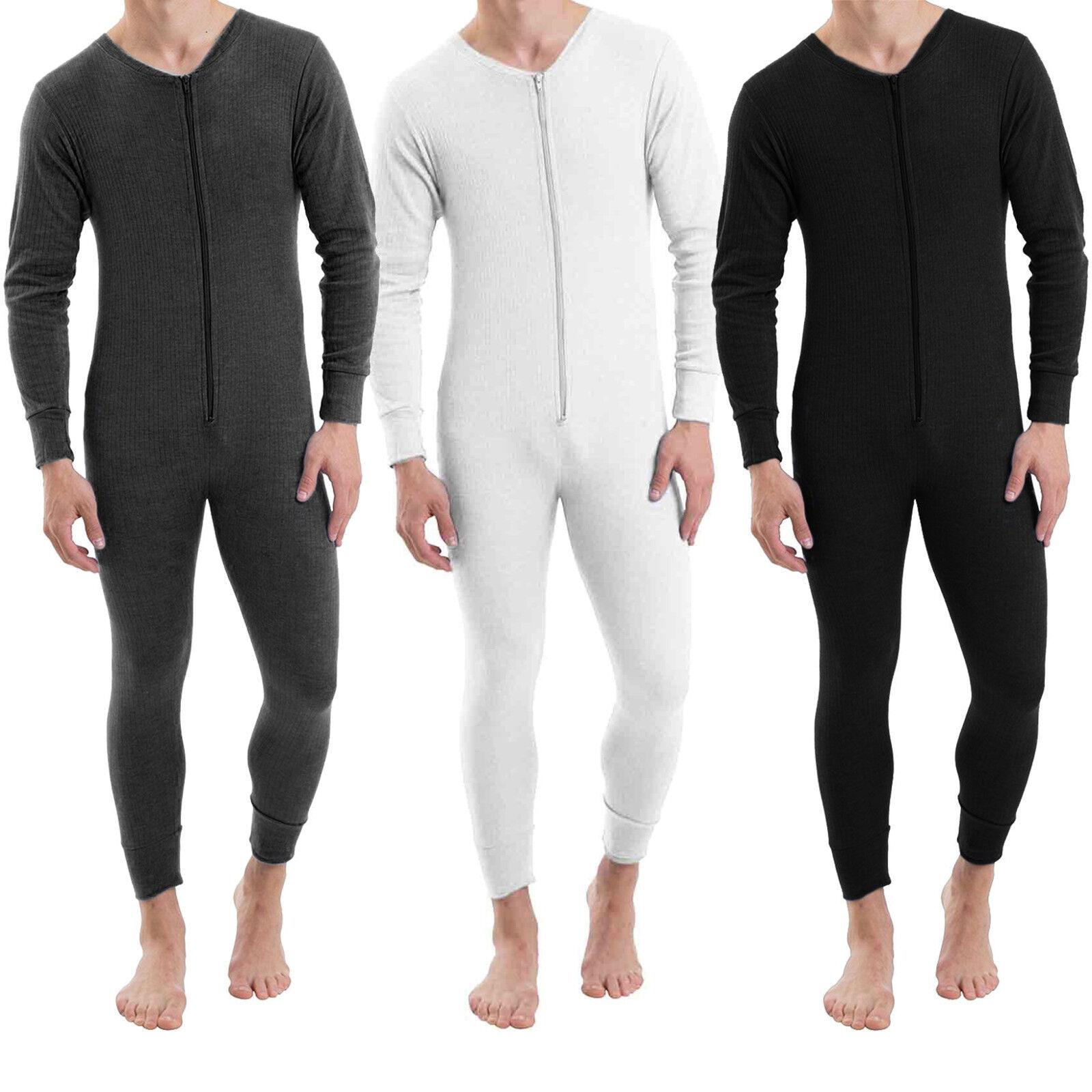 Men's Thermal All In One Onesee Bodysuit Jumpsuit Zip Baselayer Winter Ski S-2XL