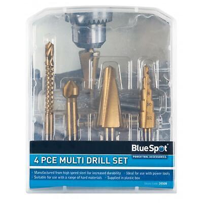 Bluespot Multi Drill Set 4pc Countersink Step Taper Saw Bits Wood Steel Metal