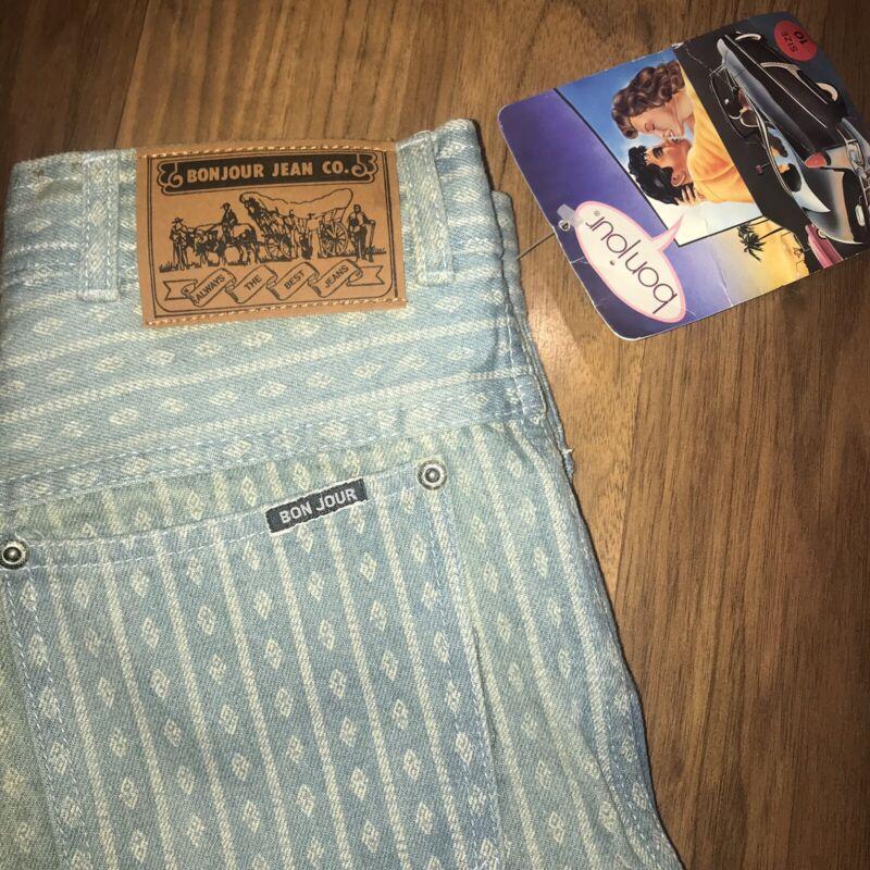NOS Vtg 70s 80s BONJOUR Denim Blue Jeans WOMENS 10 High Waist All Over Print NEW