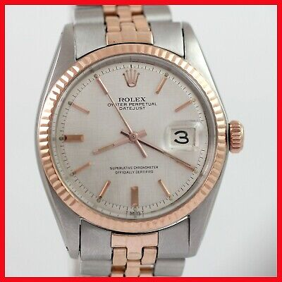 VINTAGE ROLEX OYSTER DATEJUST 1601 NON QUICK 2 TONE 18K ROSE GOLD SS MENS WATCH