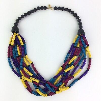 "Vintage Wood Bead Multi-Strand Necklace Colorful Funky Ethnic Boho Statement 24"""