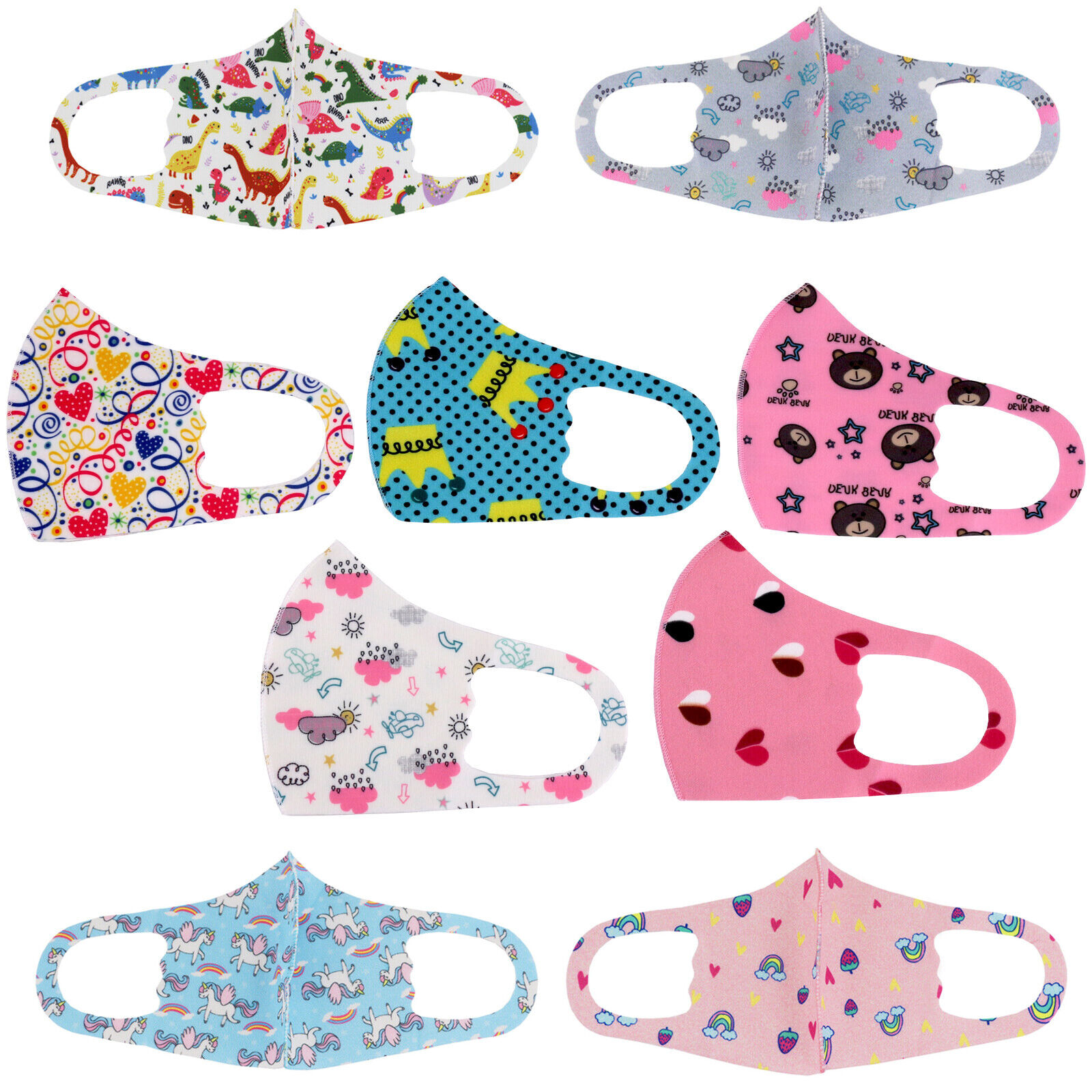 Kids Toddler Reusable Washable Cloth Face Protection Cover Stretch Handmade Mask Accessories