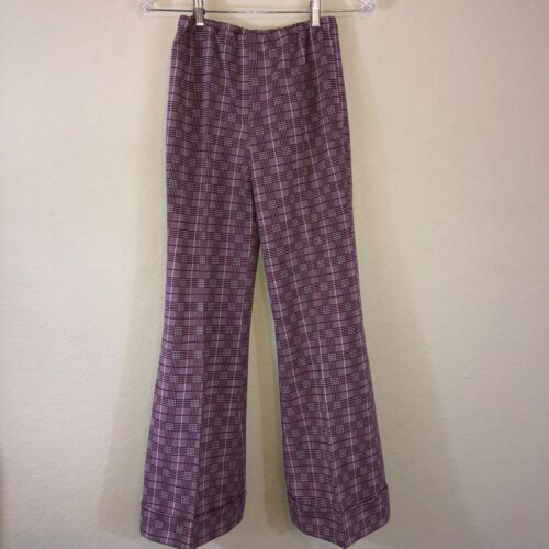 Vintage 60s 70s Maroon White Plaid Hippy High Waist Bell Bottom Cuff Flare Pant