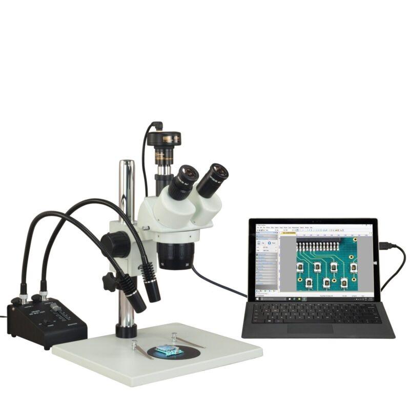Trinocular 5X-10X-15X-20X-30X-60X 1.3MP USB Stereo Microscope+6W Gooseneck Light