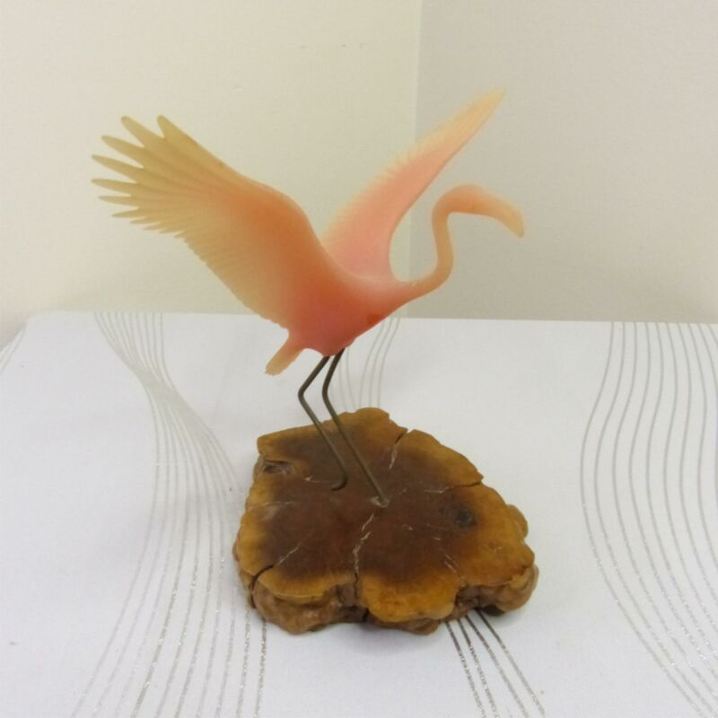 "Vintage John Perry Pink Flamingo 7"" Bird Figurine Statue Statuette Wood Base"