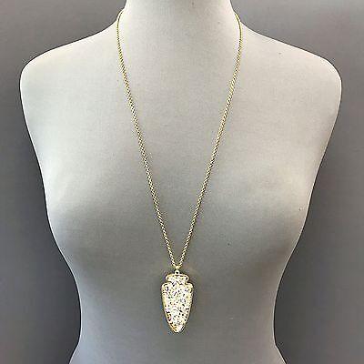 Boho Style Long Gold Chain White Rhinestone Arrow Head Charm Pendant Necklace