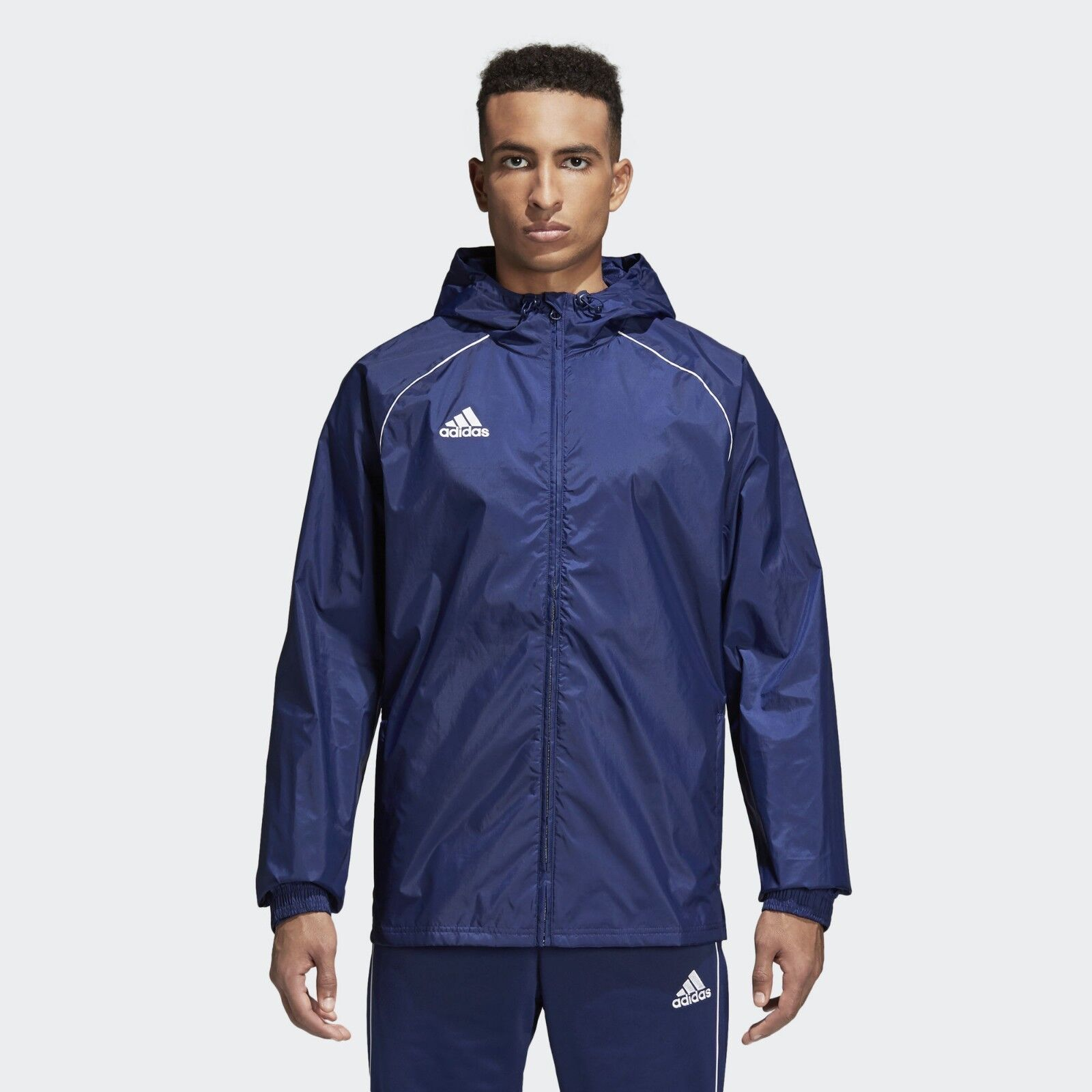 Details about adidas Core 18 Team Rain Jacket Navy Blue Water Resistant Sports Track Coat